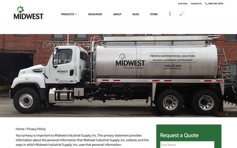 Screenshot of Privacy Page midwestind.com - Privacy Policy - Midwest Industrial Supply - captured July 23, 2018