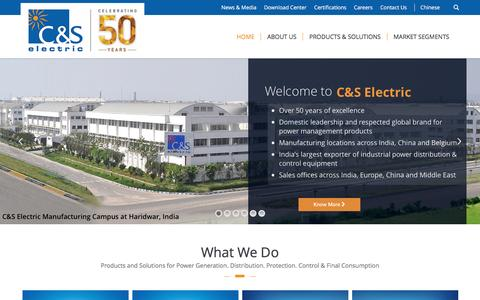 Screenshot of Home Page cselectric.co.in - C&S Electric – Market Leader in Power Busbar Business - captured Sept. 1, 2016