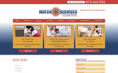 Screenshot of Site Map Page matcoservices.com - Site Map   Dallas Fort Worth HVAC - captured Oct. 27, 2014