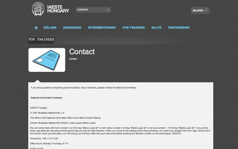 Screenshot of Contact Page iaeste.hu - IAESTE Hungary  - For Trainees - Contact - captured Oct. 3, 2014