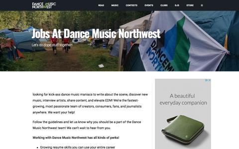 Screenshot of Jobs Page dancemusicnw.com - Jobs at Dance Music Northwest - captured July 7, 2017