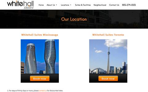 Screenshot of Locations Page whitehallsuites.com - WhiteHallSuites.com - Rates, Reservations and Location Information | (905) 274-0101 - captured Sept. 21, 2018