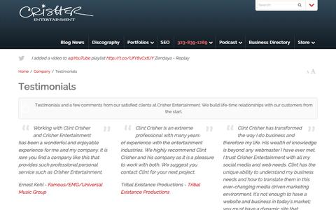 Screenshot of Testimonials Page crisherentertainment.com - Client Testimonials | Crisher Entertainment - captured Dec. 13, 2015