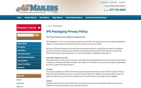 Screenshot of Privacy Page allmailers.com - Privacy Policy| All Mailers - captured Sept. 30, 2014