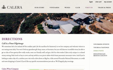 Screenshot of Maps & Directions Page calerawine.com - Calera Wine Company - Directions - captured July 11, 2017