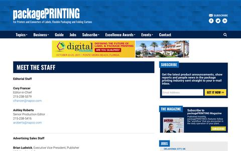 Screenshot of Contact Page packageprinting.com - Meet the Staff - Package Printing - captured June 26, 2017