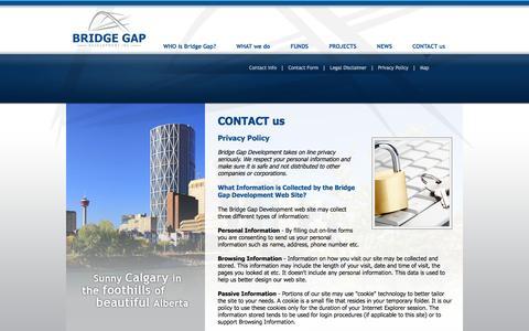 Screenshot of Privacy Page bridgegapdevelopment.com - Bridge Gap Development - Calgary Alberta: CONTACT us - Privacy Policy - captured Oct. 5, 2014