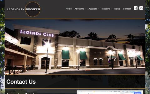 Screenshot of Contact Page legendarysports.com - Contact Us at Legendary Sports for your Masters Tournament needs! - captured July 18, 2018