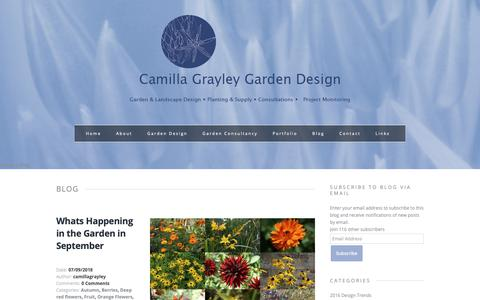 Screenshot of Blog camillagrayleydesign.com - Garden Design | Camilla Grayley | York and Yorkshire - captured Sept. 26, 2018