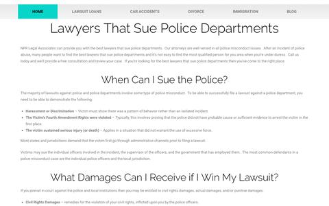 Screenshot of Home Page nprcenter.org - Lawyers That Sue Police Departments - Free Consulation Call Today - captured Feb. 17, 2019