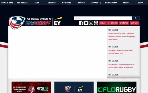 Screenshot of Home Page usarugby.org - USA Rugby | The OFFICIAL Website - captured May 15, 2019