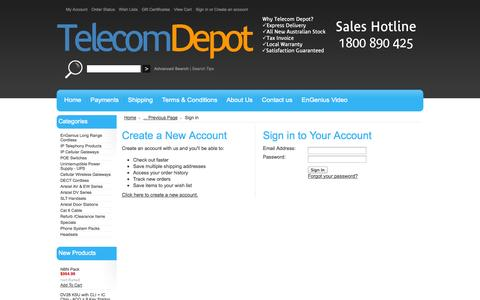 Screenshot of Login Page mybigcommerce.com - Telecom Depot Pty Ltd - Sign in - captured Sept. 18, 2014