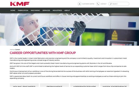 Screenshot of Jobs Page kmf.co.uk - Careers Opportunities | KMF Precision Sheet Metals - captured Nov. 15, 2018
