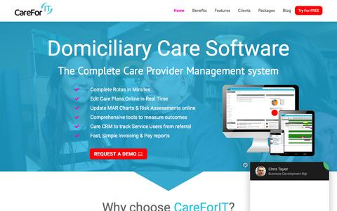 Screenshot of Home Page care-for-it.com - Domiciliary Care Software   CareForIT - captured March 7, 2016