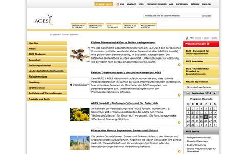 Screenshot of Home Page ages.at - AGES - Österreichische Agentur für Gesundheit und Ernährungssicherheit - AGES - captured Sept. 19, 2014