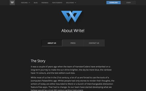 Screenshot of About Page wri.tt - Write! - About - captured Feb. 15, 2017