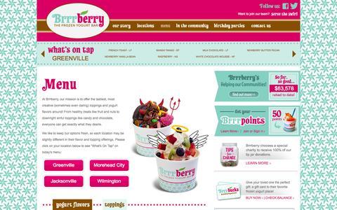 Screenshot of Menu Page brrrberryyogurt.com - Brrrberry Frozen Yogurt Bar | Menu of Yogurt Flavors - captured Oct. 5, 2014
