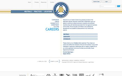 Screenshot of Jobs Page agencydr.com - Agency for Dispute Resolution - Careers - captured Oct. 4, 2014