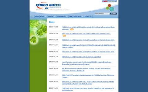 Screenshot of Press Page febico.com - FEBICO News and Events | Far East Bio-Tec Co., Ltd. - captured Oct. 5, 2014
