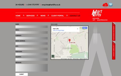 Screenshot of Contact Page Maps & Directions Page hartlifts.co.uk - CONTACT US - captured Oct. 27, 2014