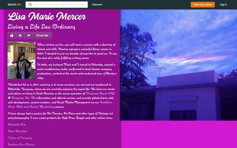 Screenshot of about.me - Lisa Marie Mercer - Atlántida, Canelones, Uruguay, Writer, Social Media Manager | about.me - captured Oct. 2, 2015