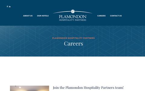 Screenshot of Jobs Page plamondonhospitalitypartners.com - Careers – Plamondon Hospitality Partners - captured July 19, 2018