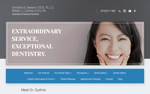 Screenshot of Testimonials Page williamguthriedds.com - William Guthrie, D.D.S,cosmetic dentistry,Lewisville Texas, 75067 - captured July 1, 2018