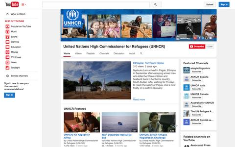 Screenshot of YouTube Page youtube.com - United Nations High Commissioner for Refugees (UNHCR)  - YouTube - captured Oct. 25, 2014