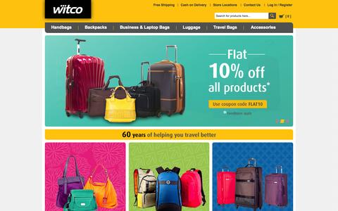 Screenshot of Home Page witco.in - Shop Online - Handbags, Backpacks, Luggage at Witco.in - captured Jan. 30, 2015