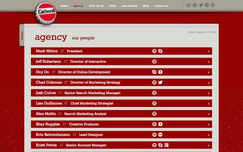 Screenshot of Team Page carbon8.com - our people | Carbon8 Marketing Company - captured Oct. 22, 2014