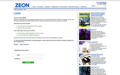 Screenshot of Login Page zeonchemicals.com - ZEON Chemicals - Corporate - Login - Registered - captured Oct. 27, 2014