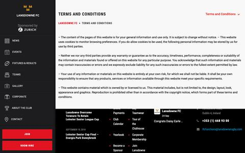 Screenshot of Terms Page lansdownerugby.com - Terms and Conditions - Lansdowne FC - captured Sept. 27, 2018