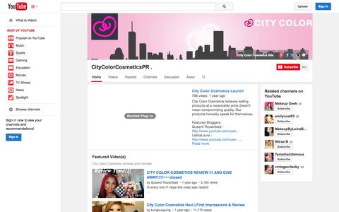 Screenshot of YouTube Page youtube.com - CityColorCosmeticsPR .  - YouTube - captured Oct. 31, 2014