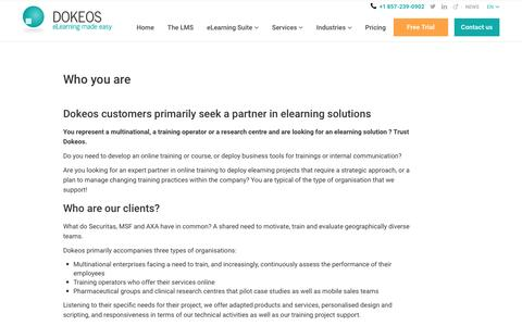 Dokeos customers primarily seek a partner in elearning solutions