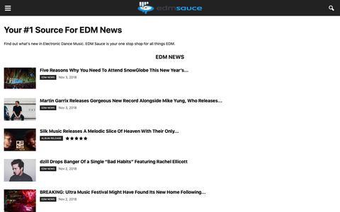 Screenshot of Press Page edmsauce.com - EDM News on EDM Sauce | Interviews, Reviews - captured Nov. 4, 2018