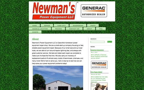 Screenshot of About Page newmanspower.com - About » Newman's Power Equipment LLC - Fast repair for lawnmowers, chainsaws and more! - captured Oct. 26, 2014