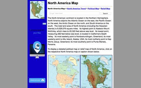 Screenshot of Home Page north-america-map.com - North America Map - North America Maps - captured May 23, 2016