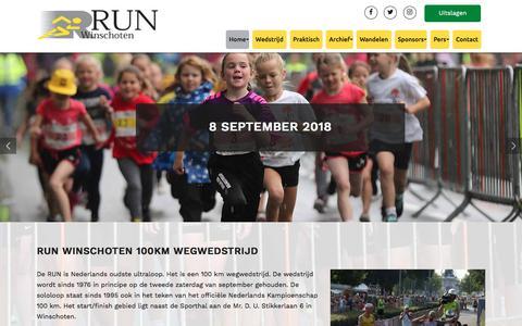 Screenshot of Home Page runwinschoten.nl - 100 km ultraloop op de tweede zaterdag in september | RUN Winschoten - captured Sept. 21, 2018