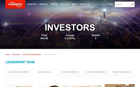Screenshot of Team Page flowserve.com - Leadership Team   Flowserve Corporation - captured Jan. 30, 2019