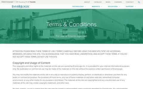 Screenshot of Terms Page envirologix.com - Terms & Conditions - EnviroLogix - captured Dec. 10, 2015