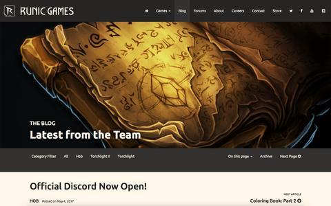 Screenshot of Blog runicgames.com - Runic Games   Blog - captured May 9, 2017