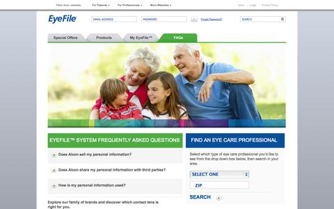 Screenshot of FAQ Page eyefile.com - ALCON / CIBA VISION | EyeFile.com - captured Nov. 3, 2014