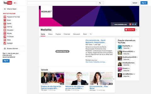 Screenshot of YouTube Page youtube.com - Medialibs  - YouTube - captured Oct. 29, 2014