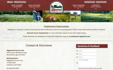 Screenshot of Contact Page Maps & Directions Page ridgewoodcc.net - Ridgewood Country Club | Public Golf Course | Moultonborough, NH - Contact & Directions - captured June 13, 2016