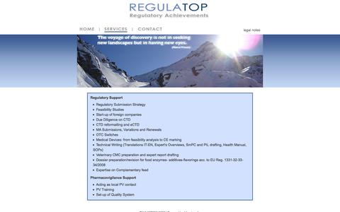 Screenshot of Services Page regulatop.com - Regulatop - Regulatory Achievements - Services - captured Oct. 26, 2014