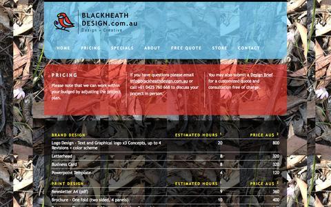 Screenshot of Pricing Page blackheathdesign.com.au - Blue Mountains Web & Print Designer - Blue Mountains Boutique Design Solutions for Web Design, Print Design, Branding, Illustration, and Training   Pricing - captured Sept. 30, 2014