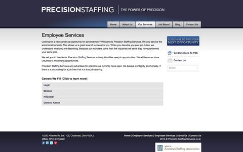 Screenshot of Support Page Terms Page precisionstaffingusa.com - Employee Services « Precision Staffing - captured Oct. 23, 2014