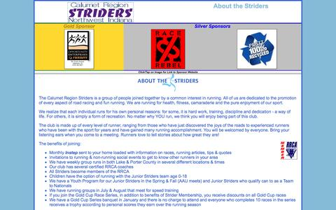 Screenshot of About Page calstrider.org - Calumet Region Striders Gold Cup About the Striders - captured April 6, 2017