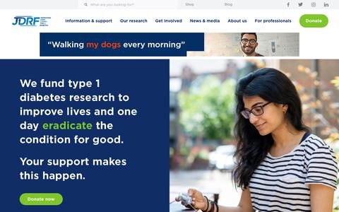 Screenshot of Home Page jdrf.org.uk - JDRF: the type 1 diabetes charity and research funder - captured Oct. 1, 2018