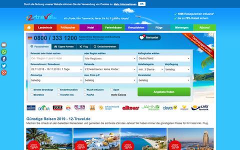 Screenshot of Home Page 12-travel.de - 12 Travel.de Mallorca Urlaub & Reisen bis -70% buchen - captured Oct. 19, 2018